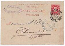KK227 1889 Belgium Alexandria Egypt Postcard Samwell-covers