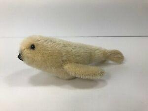 "VTG White Mohair Seal 5"" 6"" mini stuffed animal plush toy 1970s figure 1980s"