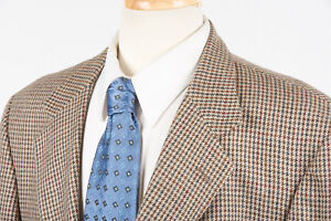 Mens ORVIS Sport Coat 46 L in Tan Gold Green Houndstooth Wool USA