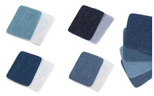 Pair of Denim Iron-on Patches for Trousers Elbows Repair 4 Shades of Jeans
