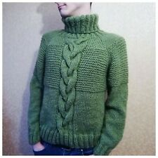 Chunky Knitted hand men's Sweater Mohair Turtleneck Loose Green Pullover Elegant