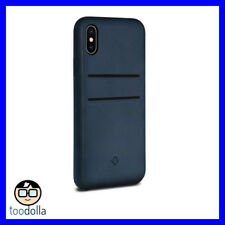 TWELVE SOUTH Relaxed burnished leather case & card pockets, iPhone X Indigo Blue