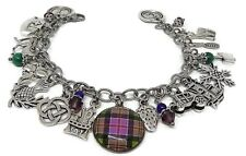 Outlander Stainless Steel Charm Bracelet, Photo Glass Cabochon with Plaid Tartan