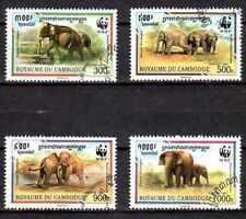 Animaux Eléphants Cambodge (63) complète 4 timbres oblitérés