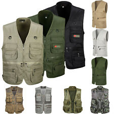 Mens Utility Vest Travel Fishing Waistcoat Jacket Photograph Safari Outdoor Coat