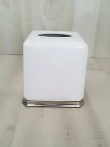 livigno Glass Square Facial Tissue Box Cover Holder for Bathroom Vanity