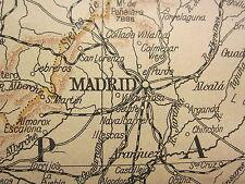1919 LARGE MAP ~ SPAIN & PORTUGAL ~ MADRID LISBON BILBAO BARCELONA