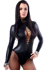Wet Look Body Overall Playsuit Catsuit mit Schnürung schwarz eng sexy S 34 36