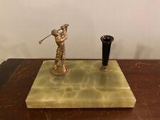 1920s Vtg Golf Pen Rest Holder Bobby Jones Era Golfer Green Marble & Bakelite