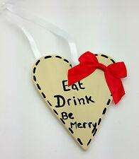 Comer Beber ser feliz Navidad Colgante de Decoración de Navidad Signo De Corazón Shabby Chic