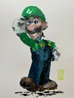 Original Abstract Luigi Super Mario Party Video Game Wall Art Acrylic Painting