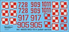 MiG 19 P/PM FARMER B/E- POLISH AF NATIONAL INSIGNIA & NUMBERS 1/72 MODEL MAKE