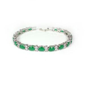 Emerald and Diamonds Bracelet 14K White Gold-Filled / Tennis-Style Bracelet