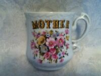 MOM Victorian VINTAGE Ceramic Mug Floral Pink Blue Yellow Coffee Tea MOTHER GIFT