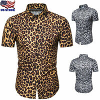 Mens Short Sleeve Leopard Print Blouse Shirt Summer Casual Slim Fit Tops T Shirt