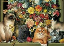 New Boucat 1000 Piece Cat and Flowers Jigsaw Puzzle Cobble Hill Puzzle Company