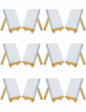"4"" by 4"" Small Stretched Canvas with 3"" by 5"" Tiny Wood Easel  (Set of 12 Pcs)"