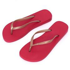 New Ipanema Women Holiday  flip flops Rubber Sandals Brazil Beach Red Gold Strap