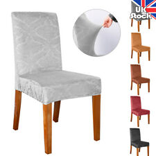 6 Colors Waterproof Embossed Chair Covers Dining Room Seat Covers Party Decor UK