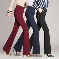 S-4XL Women Lady High Waist Straight Slim Career Work Office Suit Pants Trousers