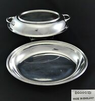 VINTAGE ART DECO JD&S OVAL ENTREE SERVING DISH TUREEN TWIN HANDLE SILVER PLATED