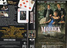 MAVERICK - Gibson & Foster - VHS - PAL - NEW -Never played! -Original Oz release