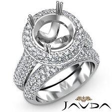 Diamond Engagement Pave Ring Round Semi Mount Bridal Set 18k Gold White 2.5Ct