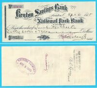 Kenton Savings Bank the National Park Bank - N. Y. - 1885