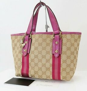 Authentic GUCCI Brown GG Canvas Pink Leather Small Tote Hand Bag Purse #39963A