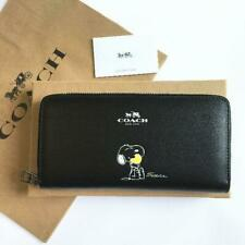 Coach Snoopy Peanuts Round Zipper Long Wallet Leather Black