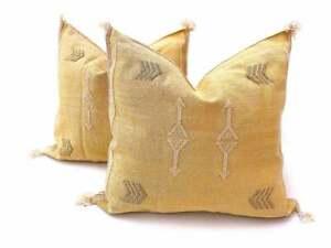 2 vintage Moroccan Cactus silk Yellow pillow cover handmade sabra cushion cover