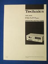 TECHNICS RS-M11 MK2 CASSETTE OWNER MANUAL ORIGINAL FACTORY ISSUE THE REAL THING