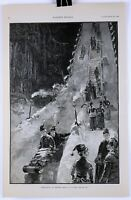 """TOBOGGANING AT SARATOGA"" 1885 Woodblock Engraving by W.P. Snyder"