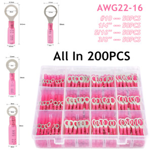 """200Pcs Heat Shrink Ring Wire Crimp Connector 22-16AWG #10 1/4"""" 5/16"""" 3/8'' Hole"""