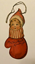 Victorian Die Cut Christmas Card - Ernest Nister - Girl In Mitten - Bavaria