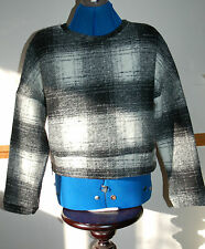 NEW Sz M Mango Monochrome Check Chunky Wool knitted Jumper Top Zip sides