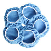 "5PCS 7-8"" 180mm Blue Microfibre Bonnets Buffing Pads Car Waxer Polisher Covers"