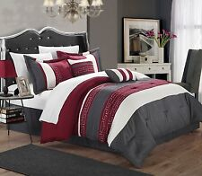 Luxurious 6-Piece Embroidered Comforter Set Bedding Queen Bed in a Bag Red Gray