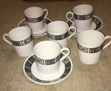 6 x Wedgwood Asia Black/White Coffee Cans & Saucers - Demi-Tasse