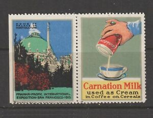 US Poster Stamp PPIE Pair Horticulture Carnation Milk