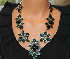 OSCAR DE LA RENTA SIGNED HAUTE COUTURE RESIN AND CRYSTAL NAVY STATEMENT NECKLACE
