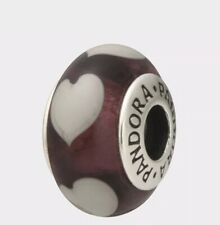 "Pandora ""Violet Love Grey Hearts "" Murano Glass Charm # 790659"
