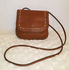 FOSSIL Mini Leather Cognac Brown Crossbody Purse Bag Boho Beaded