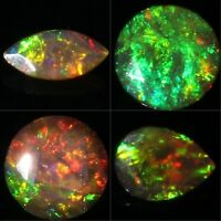 AMAZING! Quality ! Natural Ethiopian Welo Fire Black Opal Faceted Stone Gemstone