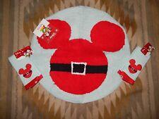 """Disney Mickey Minnie 24"""" Round Holiday Bath Mat Bathroom Rug w 2 Finger Towels"""