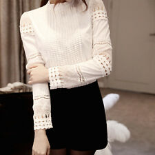 Women Blouses Long Sleeve Shirt Lace Cotton Crochet Solid White Slim T-shirt