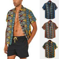 Men Vintage Print Hawaiian Breathable Casual Short Sleeve Loose T Shirts Beach