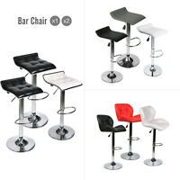 Set of 2 Swivel Bar Stool Adjustable PU Leather Counter Height Chair Home Bistro
