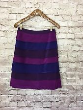 Boden Womens Skirt Silk Purple Color Block Tiered A-Line Size 10 B3