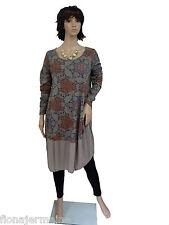 EG 38 40 42 44 Trendiges Kleid Shirtkleid BaumwollKleid Ballonform Taupe Italien